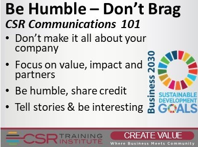 CSR Communications: Be Humble, Don't Brag